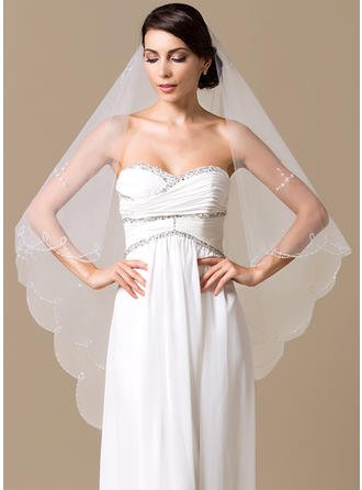 Chapel Bridal Veils Tulle One-tier Classic With Scalloped Edge Wedding Veils