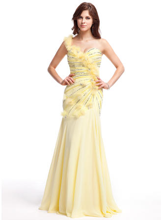 A-Line/Princess Chiffon Prom Dresses Ruffle Beading Flower(s) Sequins One-Shoulder Sleeveless Floor-Length