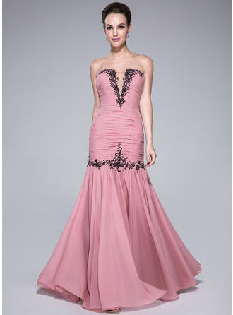 Trumpet/Mermaid Sweetheart Floor-Length Prom Dresses With Ruffle Beading Appliques Lace