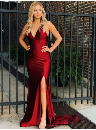 Trumpet/Mermaid V-neck Sweep Train Prom Dresses With Split Front
