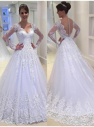 A-Line/Princess Tulle Long Sleeves V-neck Court Train Wedding Dresses