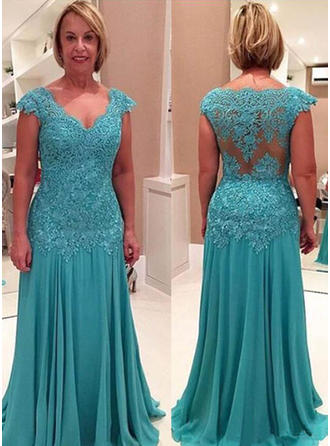 A-Line/Princess Chiffon V-neck Sweep Train Zipper Up at Side Mother of the Bride Dresses