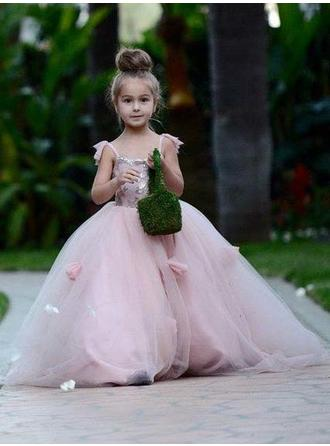 Ball Gown Square Neckline Court Train With Flower(s) Tulle Flower Girl Dresses