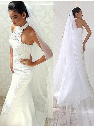 Trumpet/Mermaid Halter Sweep Train Wedding Dresses With Lace Beading
