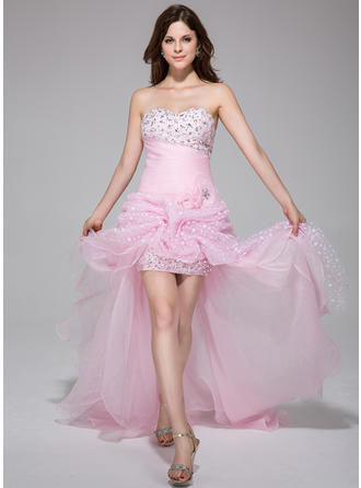 A-Line/Princess Sweetheart Asymmetrical Prom Dresses With Ruffle Beading Flower(s)