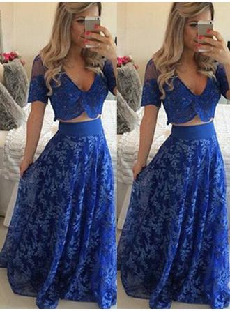 A-Line/Princess Floor-Length Prom Dresses V-neck Lace Short Sleeves