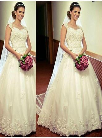 Ball-Gown Sweetheart Floor-Length Wedding Dresses With Sash Appliques Lace