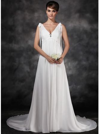 A-Line/Princess Sweetheart Court Train Wedding Dresses With Ruffle Crystal Brooch Bow(s)