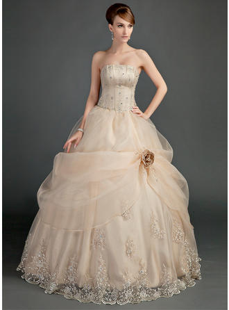 Princess Strapless Ball-Gown Wedding Dresses Floor-Length Satin Organza Sleeveless