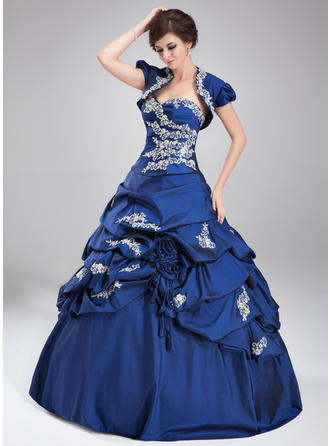 Ball-Gown Sweetheart Floor-Length Prom Dresses With Ruffle Beading Appliques Lace Sequins