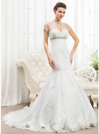 Trumpet/Mermaid Scoop Cathedral Train Wedding Dresses With Ruffle Beading Appliques Lace Sequins