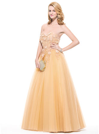 Ball-Gown Sweetheart Floor-Length Prom Dresses With Appliques Lace Flower(s)