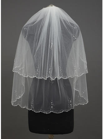 Fingertip Bridal Veils Tulle Two-tier Classic With Scalloped Edge Wedding Veils