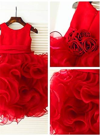 Ball Gown Scoop Neck Knee-length With Ruffles/Flower(s) Organza/Satin Flower Girl Dresses