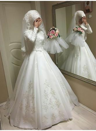 Ball-Gown Scoop Floor-Length Wedding Dresses With Bow(s)
