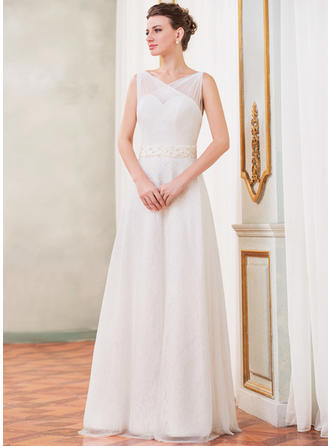 A-Line/Princess Sweetheart Floor-Length Wedding Dresses With Ruffle Beading Sequins Bow(s)