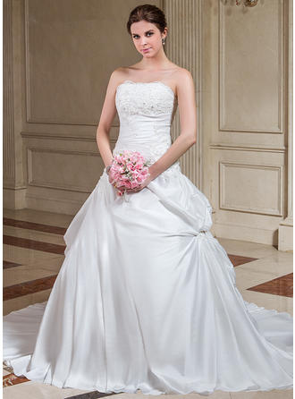 Sexy Strapless A-Line/Princess Wedding Dresses Court Train Taffeta Sleeveless