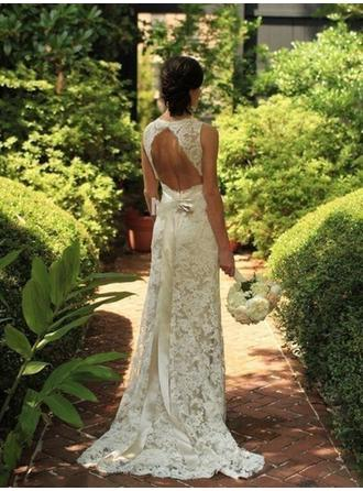 Sheath/Column Lace Sleeveless V-neck Sweep Train Wedding Dresses