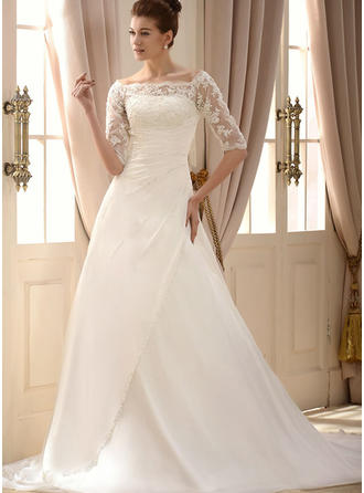 A-Line/Princess Chiffon Half Sleeves Square Chapel Train Wedding Dresses
