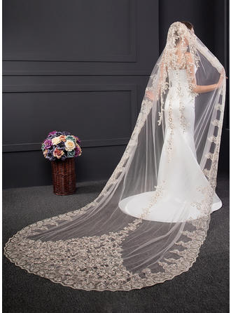 Chapel Bridal Veils One-tier Classic With Lace Applique Edge With Sequin/Lace Wedding Veils