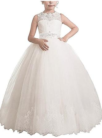 Ball Gown Scoop Neck Floor-length With Sash/Appliques Tulle Flower Girl Dresses
