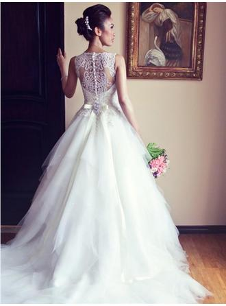 A-Line/Princess Tulle Sleeveless Scoop Chapel Train Wedding Dresses