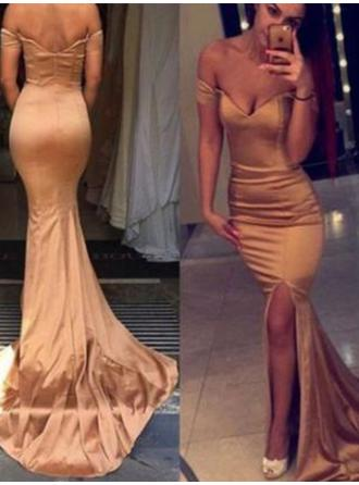 Trumpet/Mermaid Off-the-Shoulder Court Train Prom Dresses With Split Front