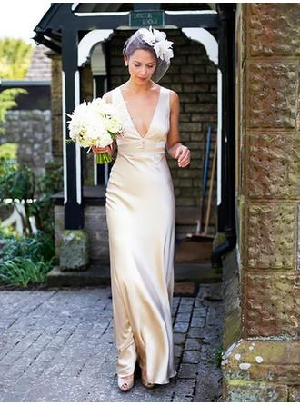 Sheath/Column Deep V Neck Floor-Length Wedding Dresses With Beading