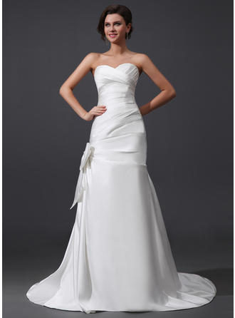 A-Line/Princess Sweetheart Court Train Wedding Dresses With Ruffle Bow(s)