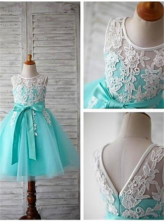 Ball Gown Scoop Neck Tea-length With Sash/Appliques/Bow(s) Tulle Flower Girl Dresses