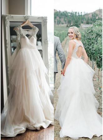 A-Line/Princess Sweetheart Sweep Train Wedding Dresses With Beading Sequins