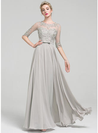 A-Line/Princess Scoop Neck Floor-Length Chiffon Prom Dresses With Beading Bow(s)
