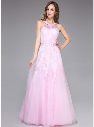 Trumpet/Mermaid Tulle Prom Dresses Ruffle Appliques Lace Bow(s) V-neck Sleeveless Floor-Length