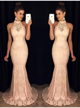Trumpet/Mermaid High Neck Sweep Train Lace Evening Dresses With Ruffle
