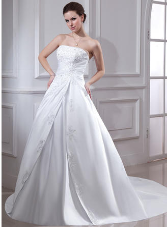 Ball-Gown Satin Sleeveless Strapless Chapel Train Wedding Dresses