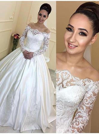 Chic Off-The-Shoulder Ball-Gown Wedding Dresses Court Train Satin Long Sleeves