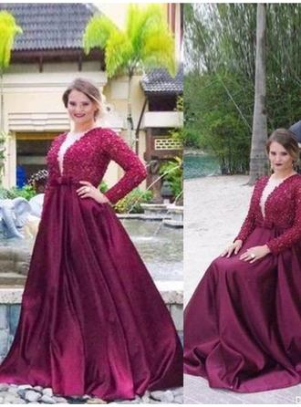 A-Line/Princess Satin Prom Dresses Beading V-neck Long Sleeves Sweep Train