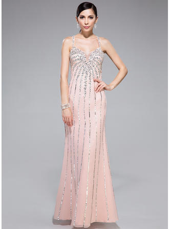 Trumpet/Mermaid Sweetheart Floor-Length Prom Dresses With Beading Sequins