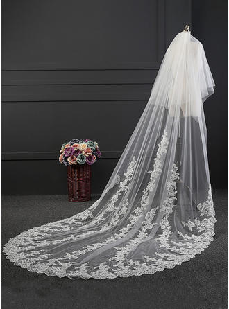 Cathedral Bridal Veils Tulle One-tier Oval With Lace Applique Edge Wedding Veils