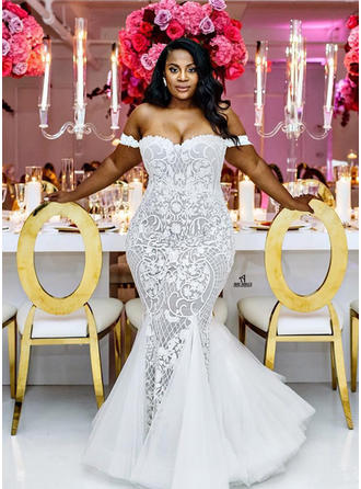 Off-The-Shoulder Trumpet/Mermaid Wedding Dresses Tulle Lace Sleeveless Chapel Train