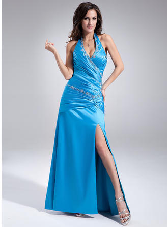 A-Line/Princess Halter Floor-Length Prom Dresses With Ruffle Beading Split Front