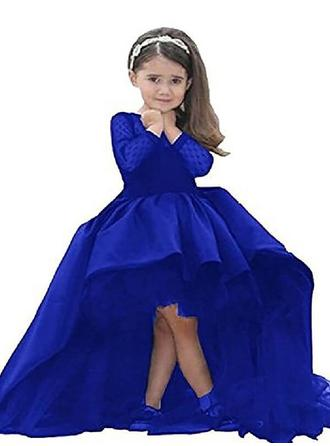 Ball Gown Scoop Neck Asymmetrical With Sash Satin Flower Girl Dresses