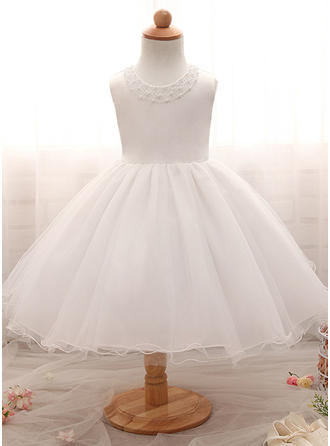 A-Line/Princess Scoop Neck Floor-length Satin Tulle Christening Gowns With Beading
