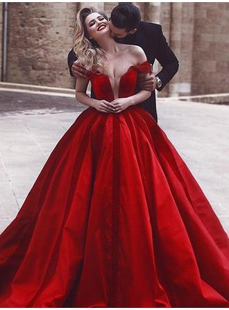Ball-Gown Off-the-Shoulder Sweep Train Prom Dresses With Ruffle