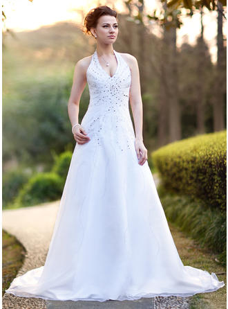 A-Line/Princess Halter Chapel Train Wedding Dresses With Beading Sequins