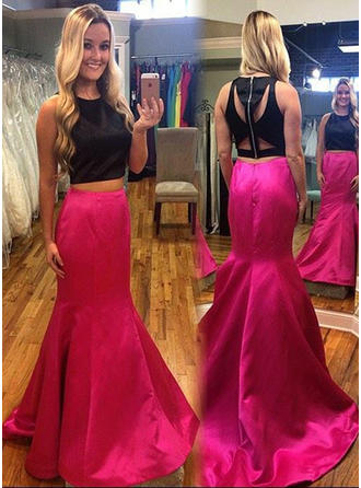 Trumpet/Mermaid Sweep Train Prom Dresses Scoop Neck Satin Sleeveless