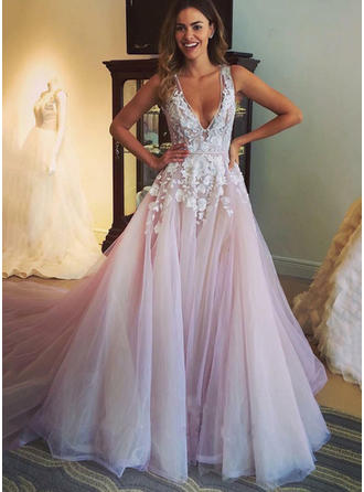 A-Line/Princess Deep V Neck V Chapel Train Prom Dresses With Appliques
