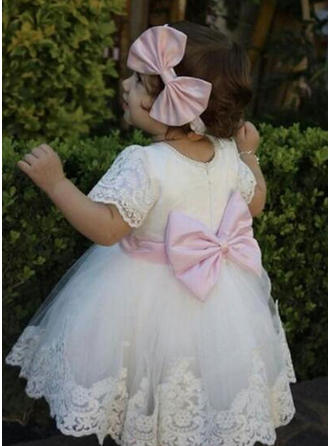 A-Line/Princess Scoop Neck Tea-length Tulle Christening Gowns With Lace Bow(s)