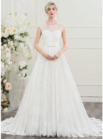 A-Line/Princess Scoop Neck Court Train Lace Wedding Dress With Beading Bow(s)