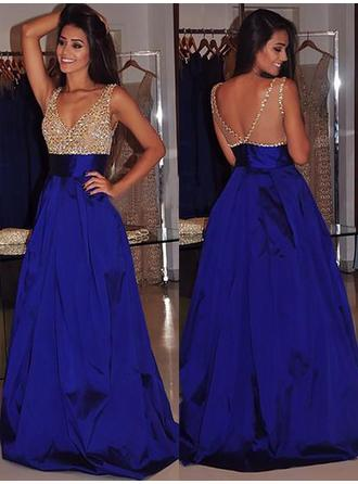 Ball-Gown Satin Prom Dresses Beading V-neck Sleeveless Sweep Train